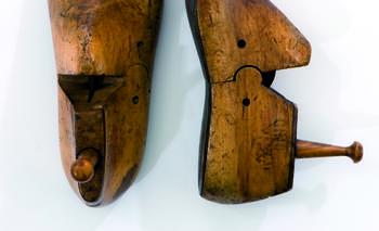 vintage wooden shoe last coat hooks